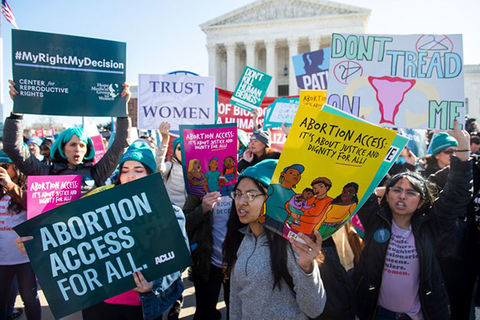 Abortion rally. A group of young women holding signs for increased abortion access outside the Supreme Court.