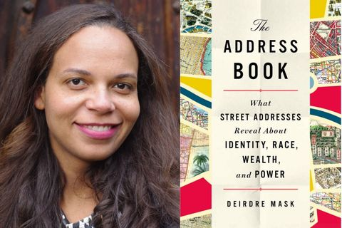 "Author Deidre Mask. Light brown Black woman with brown hair; Cover of ""The Address Book"" by Mask"