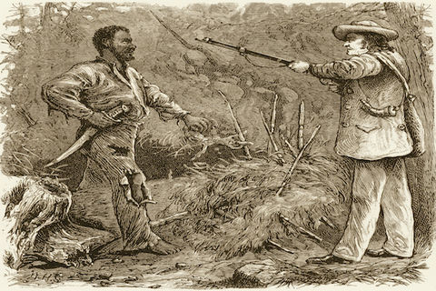 Nat Turner is shown being discovered in a wooded area of Virginia by a white man carrying a gun in 1831.