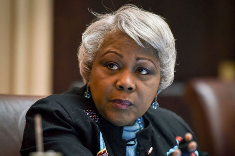 Close-up of Virginia State Sen. Louise Lucas, an older black woman with short, straightened white hair.