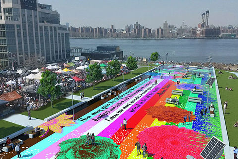 Marsha P Johnson Park. Aerial view of park in New York City showing art with rainbow colors.
