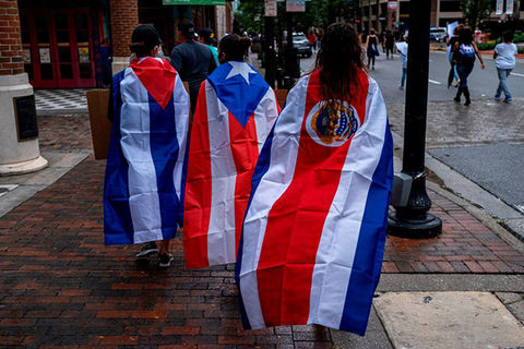 Latinx Flags. Large flags from Cuban, Puerto Rican and Costa Rica.