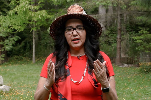 Indian American. Indian American woman in green space, wearing a wide hat and red shirt with long dark hairl.