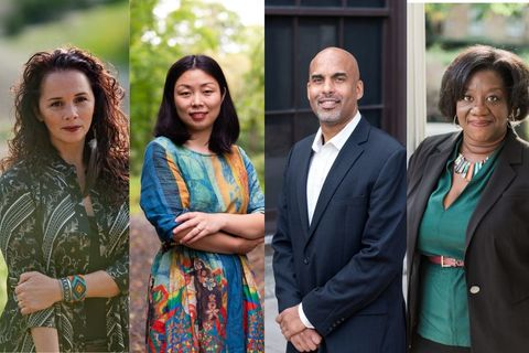 Larissa FastHorse, Nanfu Wang, Damien Fair, Tressie McMillan Cottom: Native woman with curly hair, red lip; Chinese American woman, with long bob, in colorful dress; African American man with bald head, blue suit jacket and white shirt; Black woman with short bob, brown face, turquoise dress and black blazer