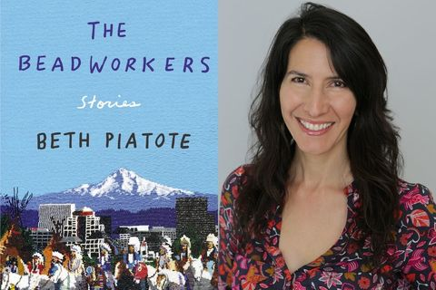"On left: ""The Beadworkers"" cover, with a bright blue sky and mountains, next to a photo of the author: Beth Piatote, a Native woman with long, layered hair, and a red and pink flowered v-neck dress"