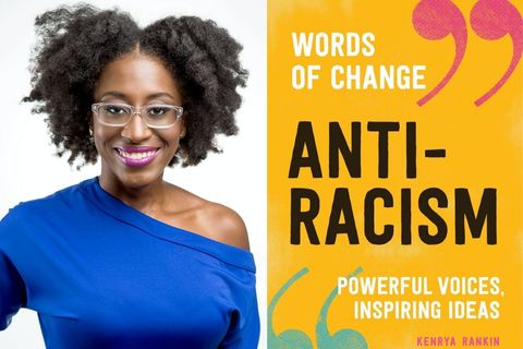 "On left is author Kenrya Rankin, a dark-skinned woman, with a twist our and cobalt blue top that is off the shoulder, with a pink lip an glasses. On the right is the cover of her book, ""Anti Racism"""