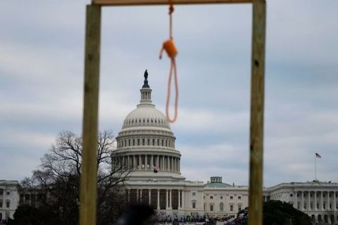 Shot of U.S. Capitol building with a noose in the forefront, part of the Capitol Riots which took place on Jan. 6, 2021, in Washington, DC