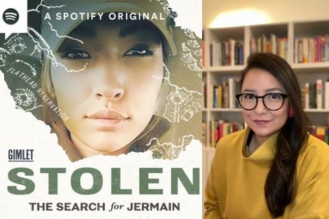 "Show Art for the podcast ""Stolen: The Search for Jermain"" next to an image of investigative reporter and podcast host, Connie Walker"