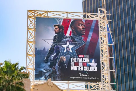 "A billboard for the Disney+ series, The Falcon and the Winter Soldier. From left to right, Sam Wilson/Falcon (Anthony Mackie) and James Buchanan ""Bucky"" Barnes/Winter Soldier (Sebastian Stan)"