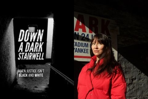 "On the left, key art imagery of the documentary ""Down a Dark Stairwell"". On the right is an image of filmmaker, Ursula Liang in a red coat"