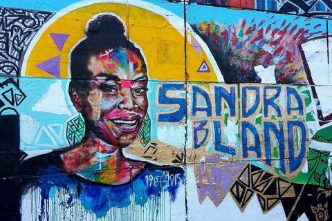 The Sandra Bland tribute mural restored by activists at Tech Wall in Ottawa