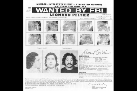 "Black and White FBI ""Wanted"" poster, fingerprint images and pictures of Leonard Peltier with long hair"