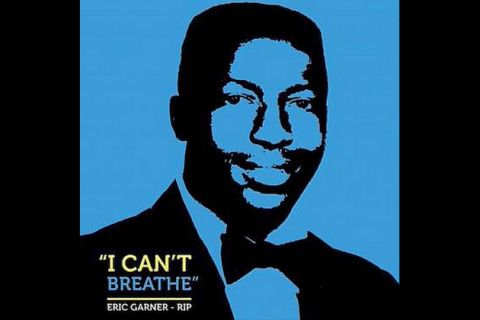 Eric Garner's portrait in black with blue background and yellow, blue and white text