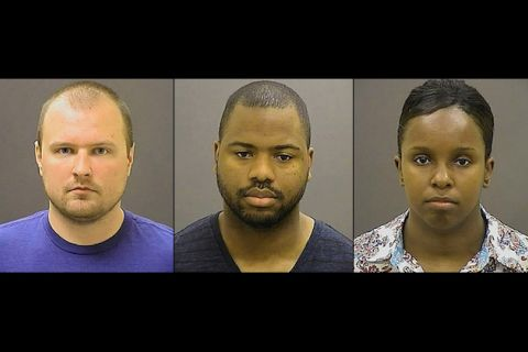 Garrett Miller, William Porter and Alicia White in mugshots with brown background