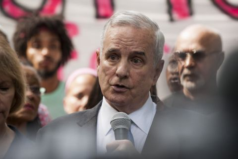 Minnesota Governor, Mark Dayton, speaks outside the Governor's Mansion about Philando Castile