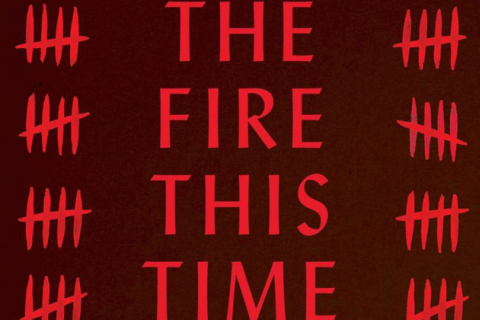 "Black letters on a red background read ""The Fire This Time."""