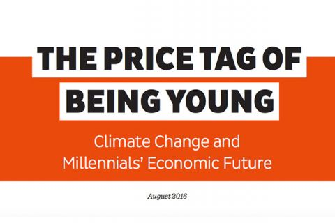 "Colorlines screen shot of the report, ""The Price Tag of Being Young: Climate Change and Millennials' Economic Future,"" taken on August 25, 2016."