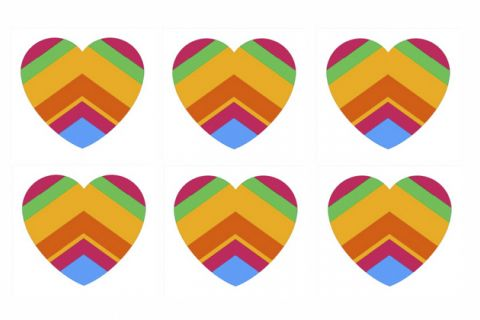 A multicolored heart