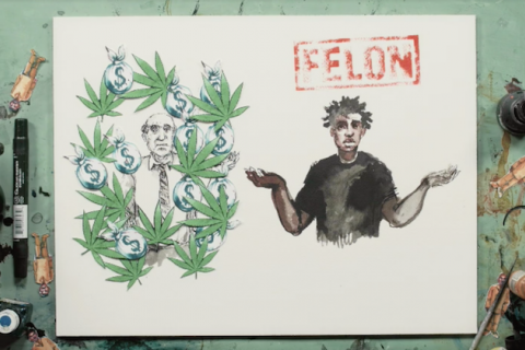 "Sketch of two men, one in charcoal and white with green marijuana leaves and charcoal money bags surrounding him and another with brown skin and a black shirt with the word ""felon"" in red on top"