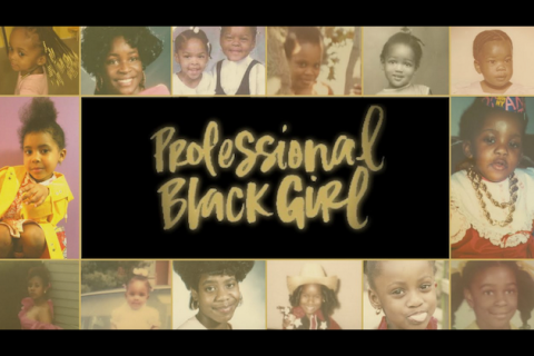 """Professional Black Girl"" in gold text against black background, surrounded by multi-colored pictures"