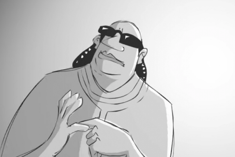 animated man in grayscale with black sunglasses and hair