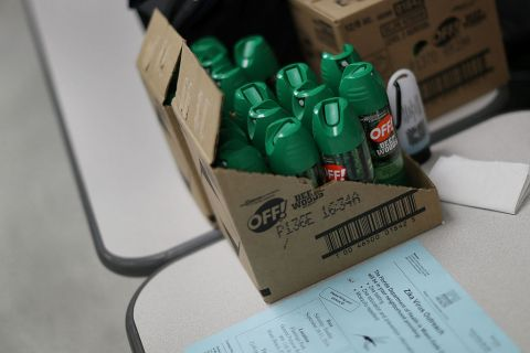 Cans of mosquito repellent are seen as the Florida Department of Health gives free Zika virus tests at a temporary clinic setup at the Miami Beach Police Department on September 13, 2016 in Miami Beach, Florida.