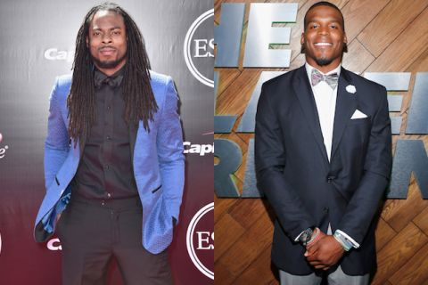 Richard Sherman in blue jacket and black pants with black shirt and bowtie, Cam Newton in navy suit with white shirt and light colored bowtie