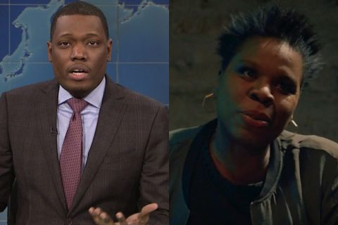 Michael Che in grey suit with red tie against blue background; Leslie Jones in grey jacket and black t-shirt against dark green background