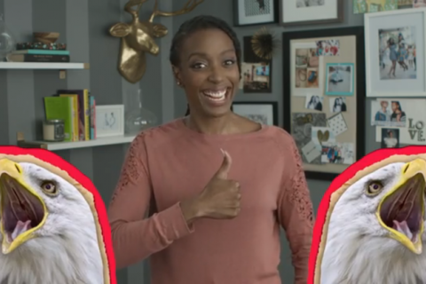 Franchesca Ramsey smiles, giving a thumbs up with two animated bald eagles flanking her
