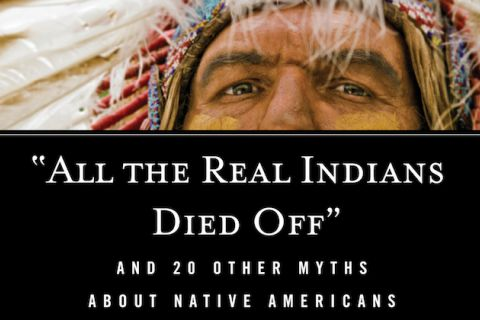 "Portion of ""'All the Real Indians Died Off'"" book cover features the eyes of a Native man with a black box of type over the rest of his face"