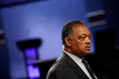 Jesse Jackson arrives before the start of the third U.S. presidential debate at the Thomas & Mack Center on October 19, 2016, in Las Vegas, Nevada. Today, he is in North Dakota to oppose the Dakota Access Pipeline.