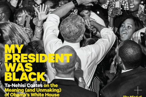 Black and white image of President Barack Obama in crowd of Black people.