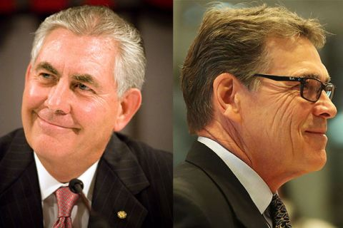 ExxonMobil CEO Rex Tillerson, left, and former Texas Gov. Rick Perry, right.