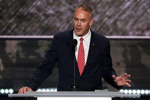 U.S. Representative Ryan Zinke delivers a speech on the first day of the Republican National Convention on July 18, 2016, in Cleveland, Ohio. President-elect Donald Trump has offered him the interior secretary position.