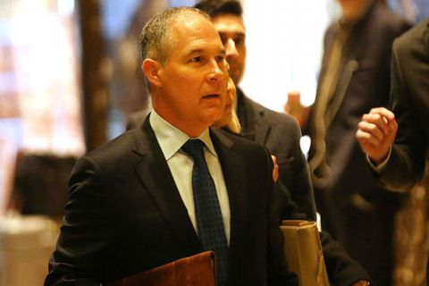 Oklahoma Attorney General Scott Pruitt arrives at Trump Tower on December 7, 2016, in New York City. The president-elect announced today that Pruitt would head the EPA.