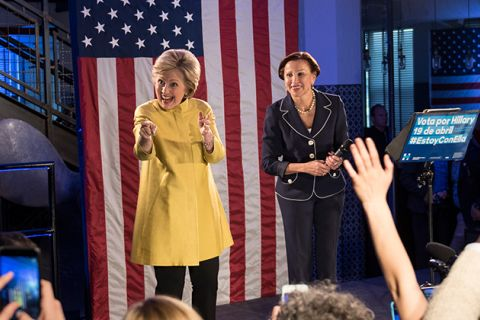 New York Congresswoman Nydia Velazquez campaigning alongside former Democratic presidential nominee Hillary Clinton to organize Latinx voters on April 9, 2016, in Brooklyn, New York.