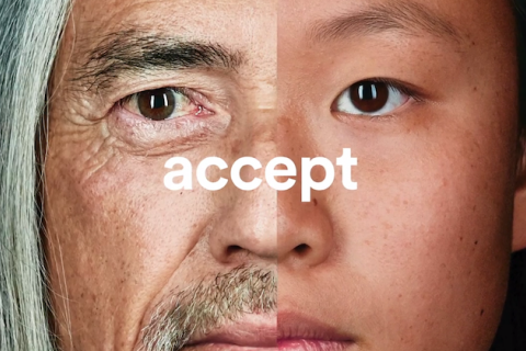 "Split screen of two faces with word ""accept"" across them in white letters"