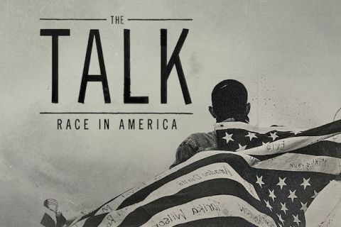 "Illustration reads ""The Talk"" and shows Black boy with American flag on his shoulders, the names of people killed by police written on the stripes"