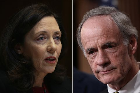 Sen. Maria Cantwell (D-WA), left, and Sen. Tom Carper (D-DE), right.