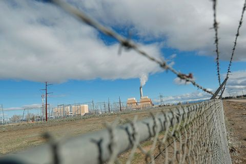 Fencing surrounds the coal-fired Intermountain Power Plant on March 28, 2016, outside Delta, Utah. The IPP generates more then 13 million megawatt hours of coal-fired energy each year to Utah and Southern California.
