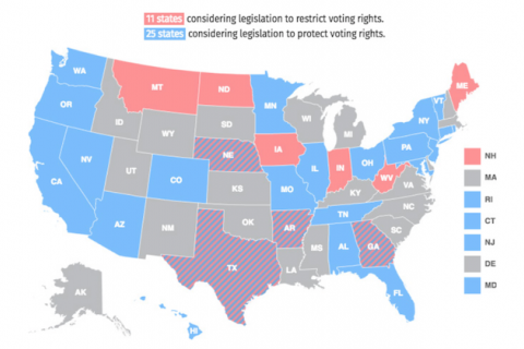 Map shows states considering legislation related to protest