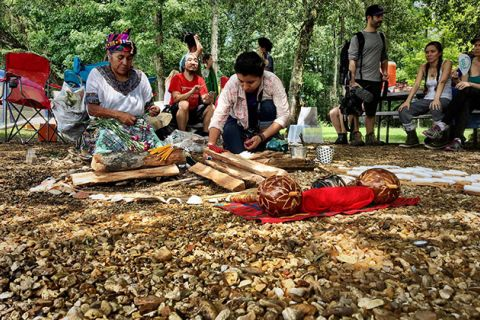 Indigenous leaders open the L'eau Est La Vie (Water Is Life) Camp in ceremony June 24, 2017, in southern Louisiana.