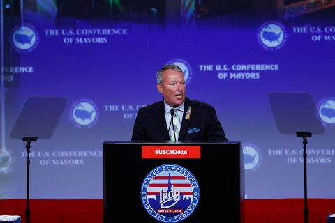 Buddy Dyer. Addresses U.S. Conference of Mayors in 2016.