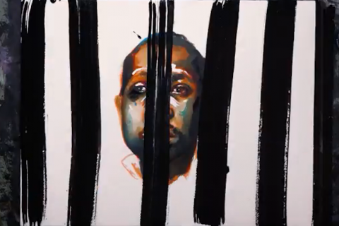 Illustration of Black teenager with brown and orange and green hues behind black bars on white background