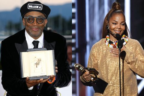 Black man in black beret with white letters and black and white tuxedo holding beige award with grey emblem in front of grey buildings and orange sky; Black woman in gold dress holds gold award in front of dark-lit background behind black microphone