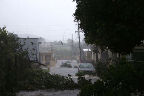 A street is flooded during the passing of Hurricane Irma on September 6, 2017, in Fajardo, Puerto Rico.
