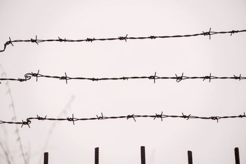 black barbed wire against an overcast sky