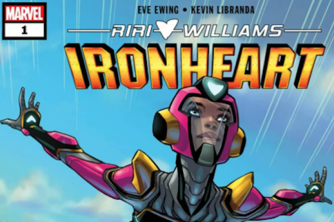 Illustration of RiRi Williams in magenta and yellow superhero outfit in front of blue sky with white clouds and underneath orange headline text