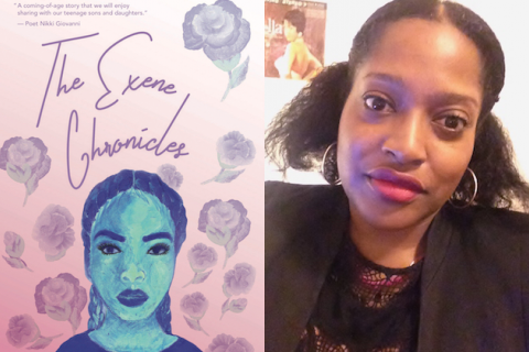 Pink book cover with purple text and flowers and blue and purple illustration of Black girl on pink background; Black woman in black blazer and shirt in front of white wall with poster
