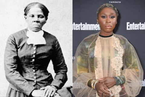 Harriet Tubman, Cynthia Erivo. Two Black women. One in black in white, wearing a dark-colored dress with a white collar. The other in color wearing a gauzy peach shirt over a multicolored dress